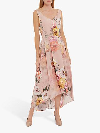 Gina Bacconi Marca Floral Dipped Hem Dress, Rose Pink