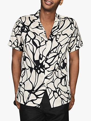 Reiss Griffin Abstract Print Short Sleeve Shirt, Off White/Black