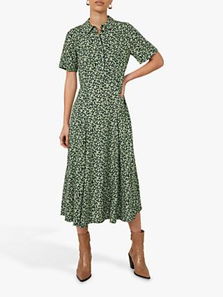 Warehouse Floral Midi Shirt Dress, Green