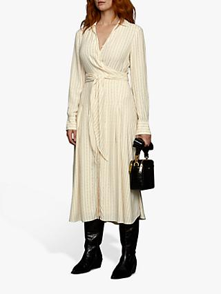 Jigsaw Linear Tie Waist Midi Dress, Ivory