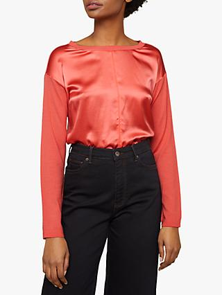 Jigsaw Silk Front Knit Jumper, Sunset Pink