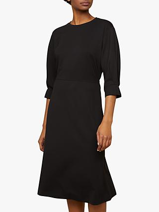 Jigsaw Pleat Cuff Jersey Dress, Black