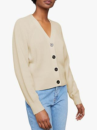 Jigsaw Button Through Ribbed Cardigan, Whipped Cream