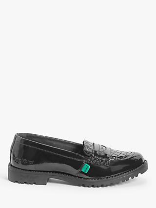 Kickers Children's Lachly Quilt Loafer School Shoes, Black Patent