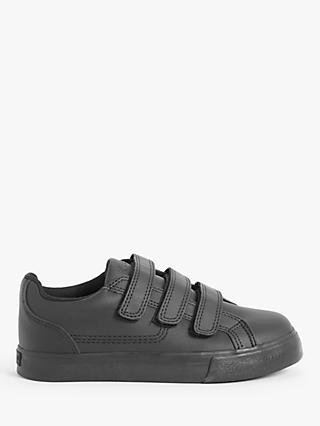 Kickers Children's Tovni Trip School Shoes, Black Leather