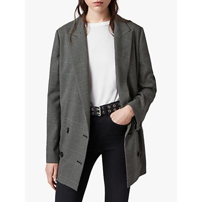 AllSaints Helei Check Blazer, Charcoal Grey