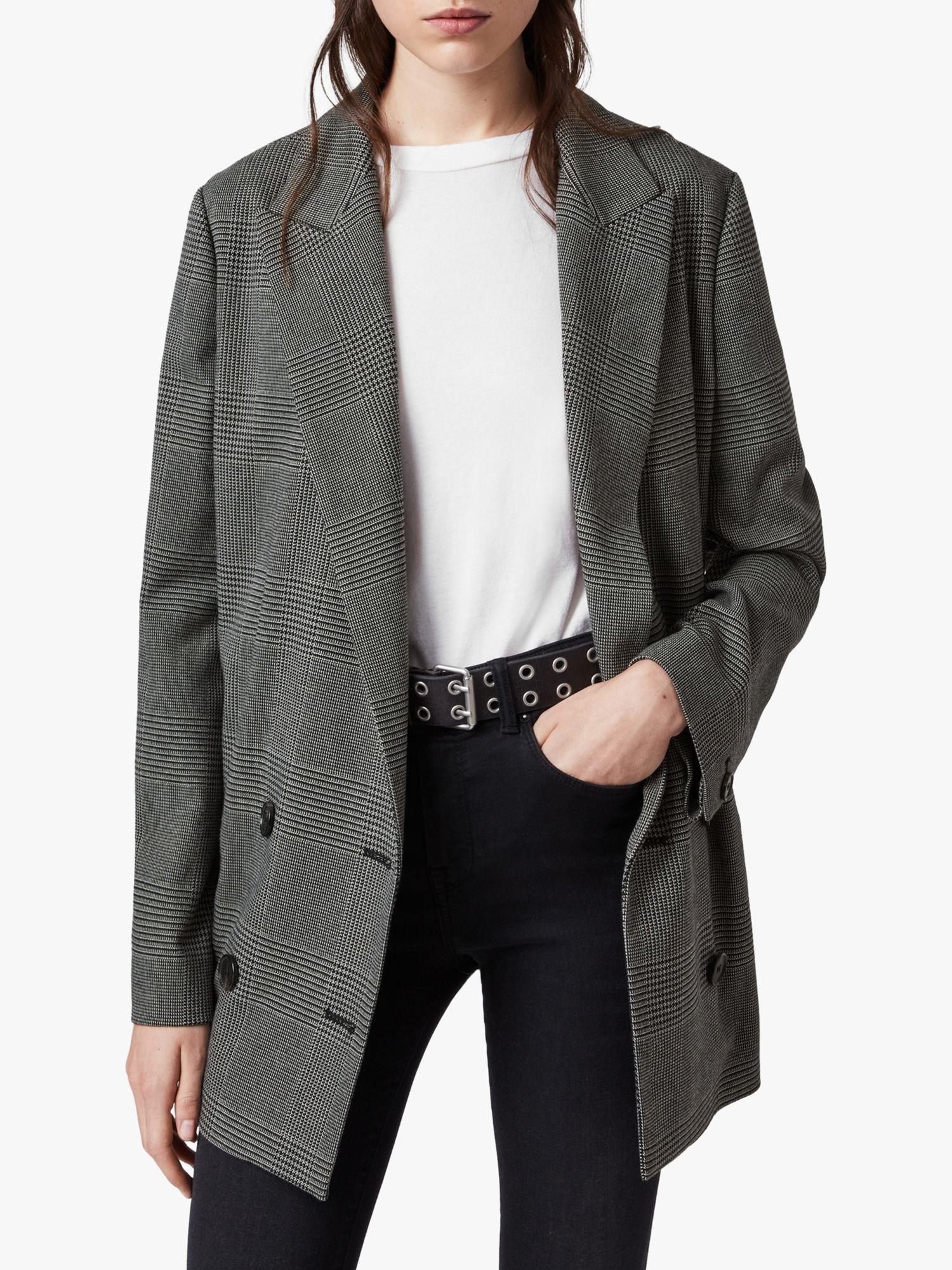 AllSaints AllSaints Helei Check Blazer, Charcoal Grey