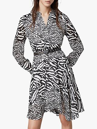 AllSaints Martina Remix Animal Print Dress, Chalk White