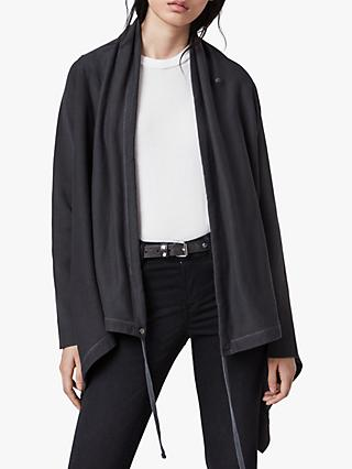 AllSaints Ivy Drape Cardigan, Washed Black