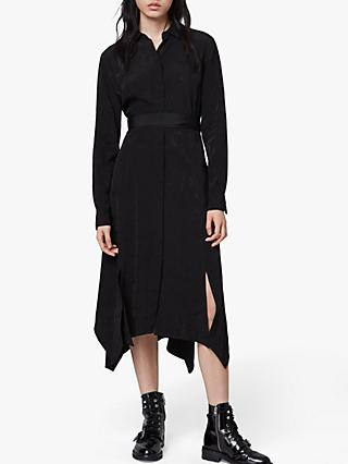 AllSaints Tilly Valentine Midi Dress, Black