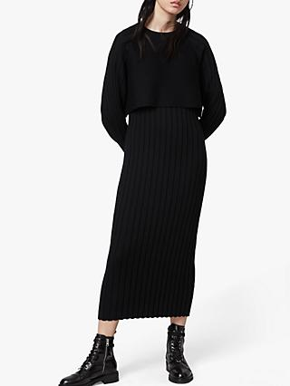 AllSaints Tarun Layered Midi Dress, Black
