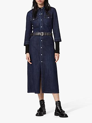AllSaints Polly Denim Midi Dress, Dark Indigo Blue
