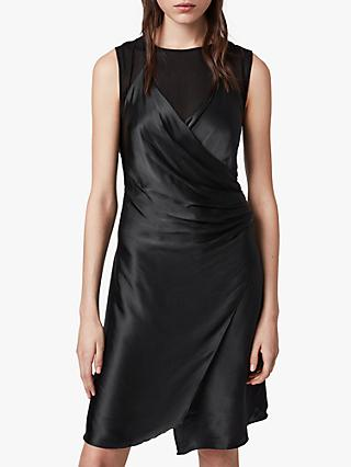 AllSaints Carlotta Satin Draped Mini Dress, Black