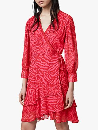 AllSaints Keva Remix Wrap Mini Dress, Pink