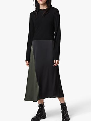 AllSaints Ageta 2-in-1 Midi Dress, Black/Khaki
