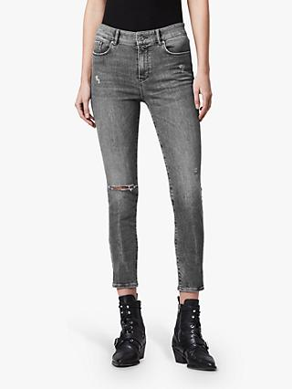 AllSaints Miller High Rise Cropped Skinny Jeans, Washed Grey