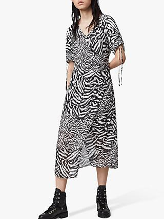 AllSaints Carla Remix Zebra Print Midi Dress, Chalk White