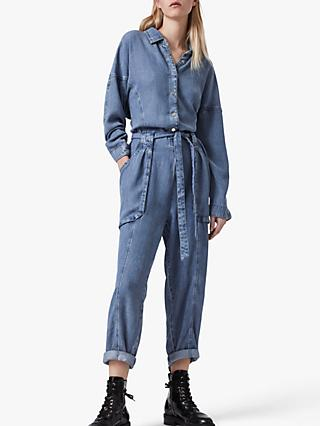 AllSaints Mila Denim Jumpsuit, Light Indigo Blue