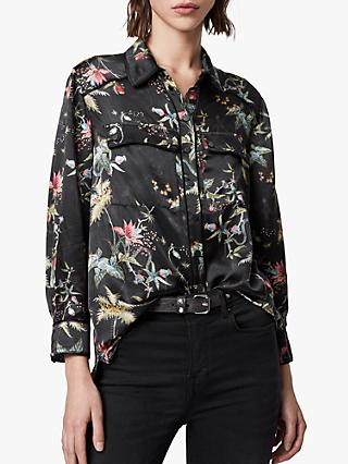 AllSaints Esther Evolution Floral Print Shirt, Black/Multi