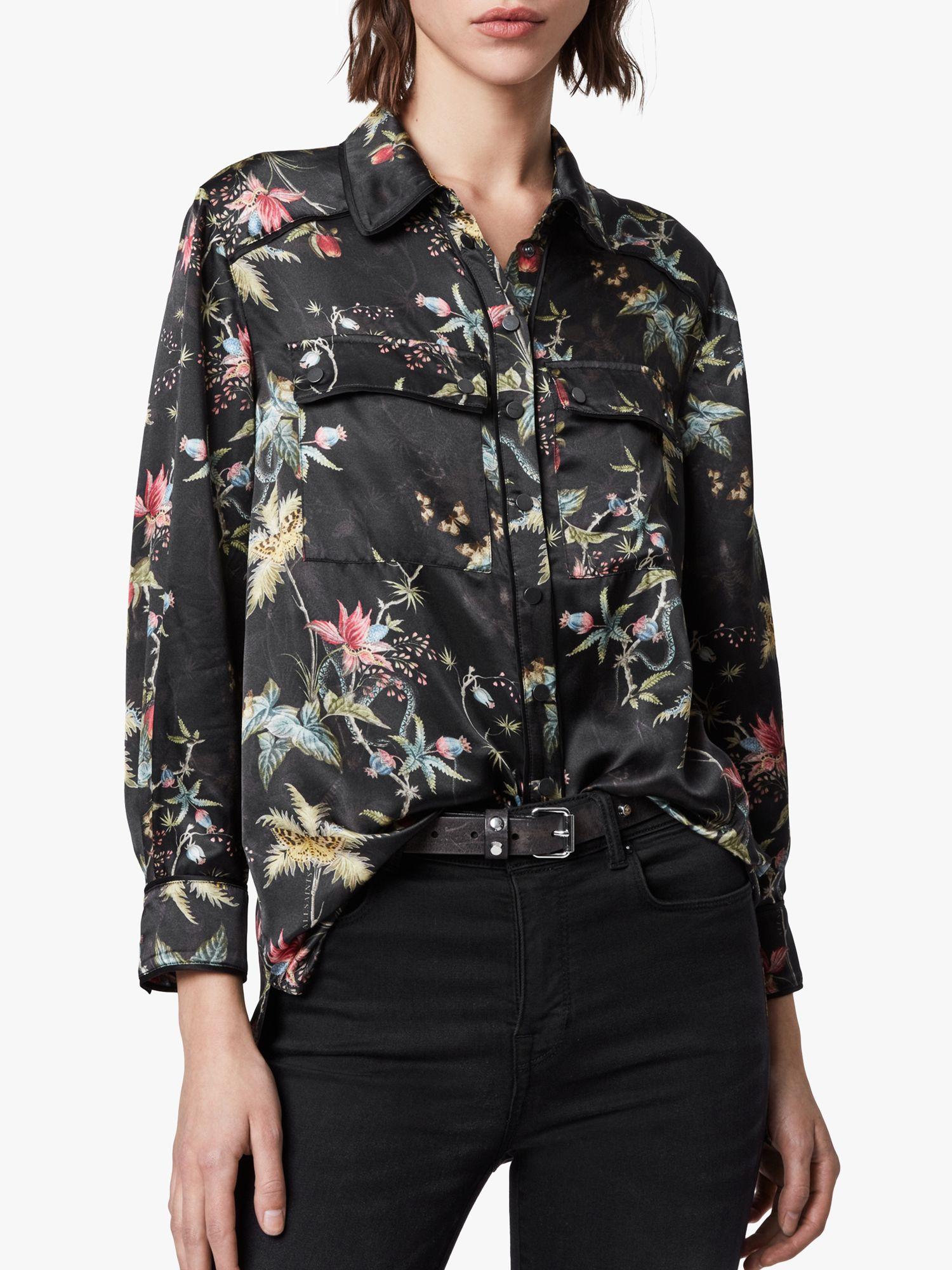 AllSaints AllSaints Esther Evolution Floral Print Shirt, Black/Multi