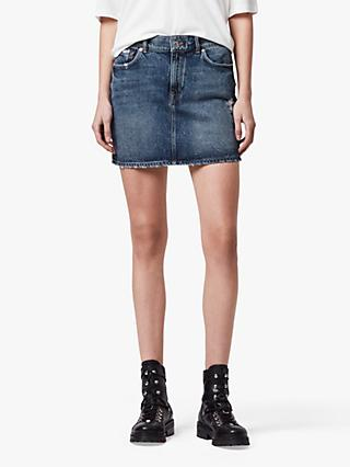 AllSaints Arden Denim Skirt, Dark Indigo