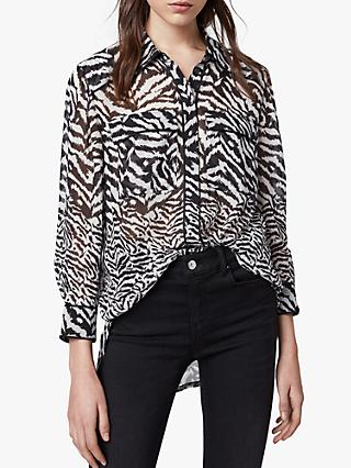 AllSaints Esther Remix Animal Print Shirt, Chalk White