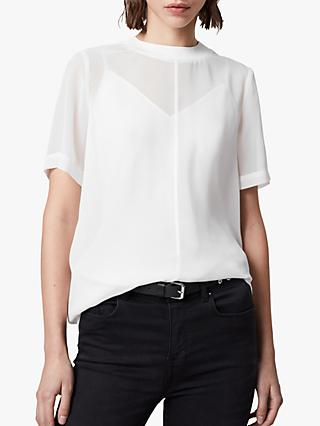 AllSaints Trace Short Sleeved Top, Chalk White