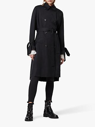 AllSaints Harlen Trench Coat, Ink Blue