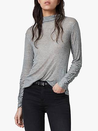 AllSaints Francesco Long Sleeve Roll Neck Top, Grey Marl