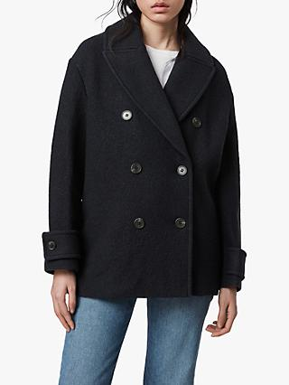 AllSaints Reagon Wool Pea Coat, Ink Blue