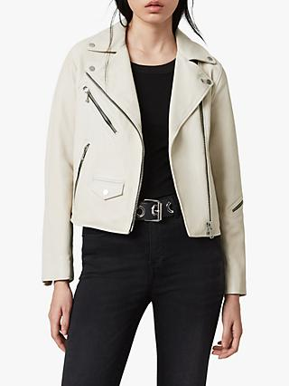 AllSaints Riley Leather Biker Jacket, White