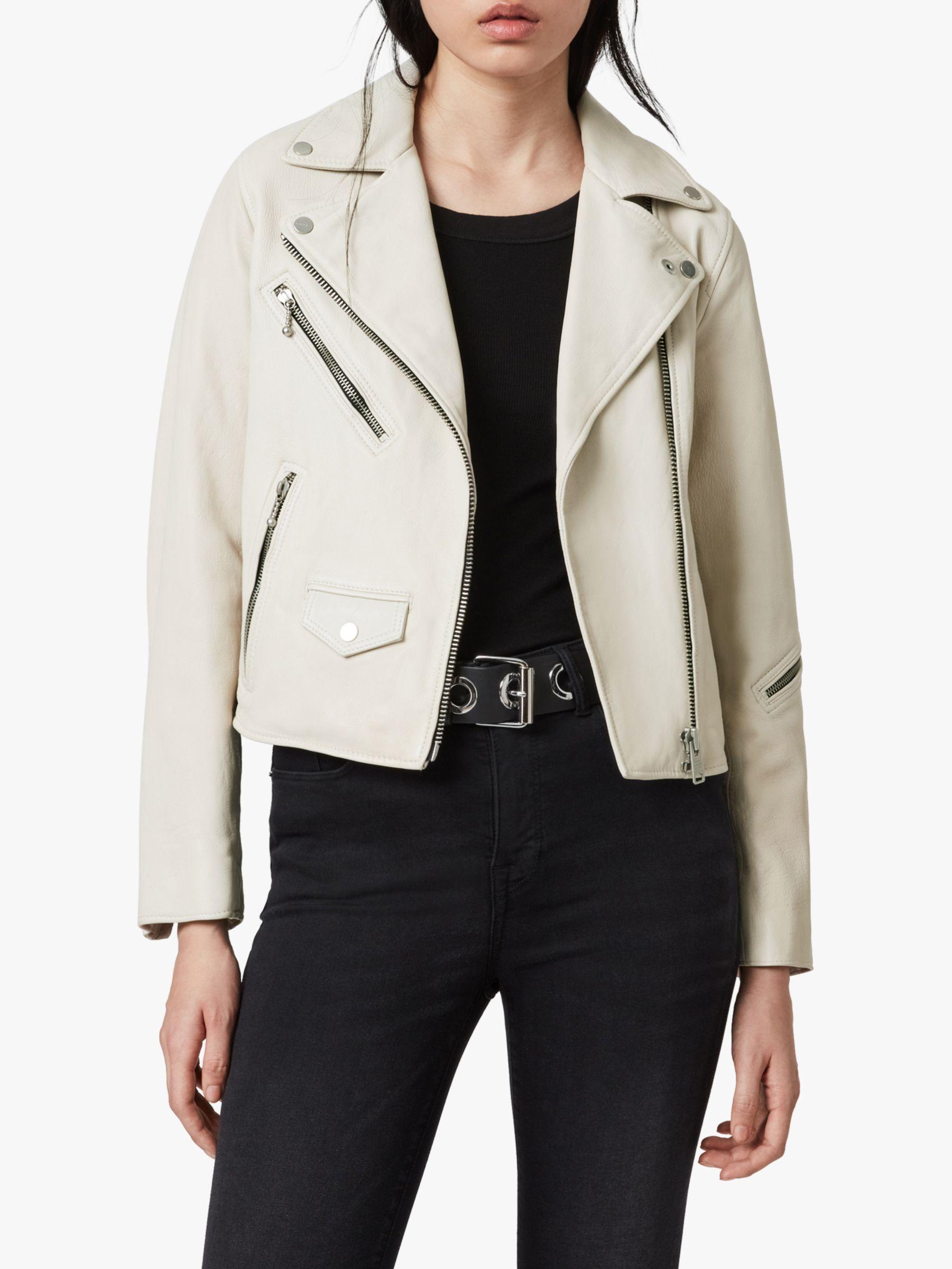 AllSaints AllSaints Riley Leather Biker Jacket, White