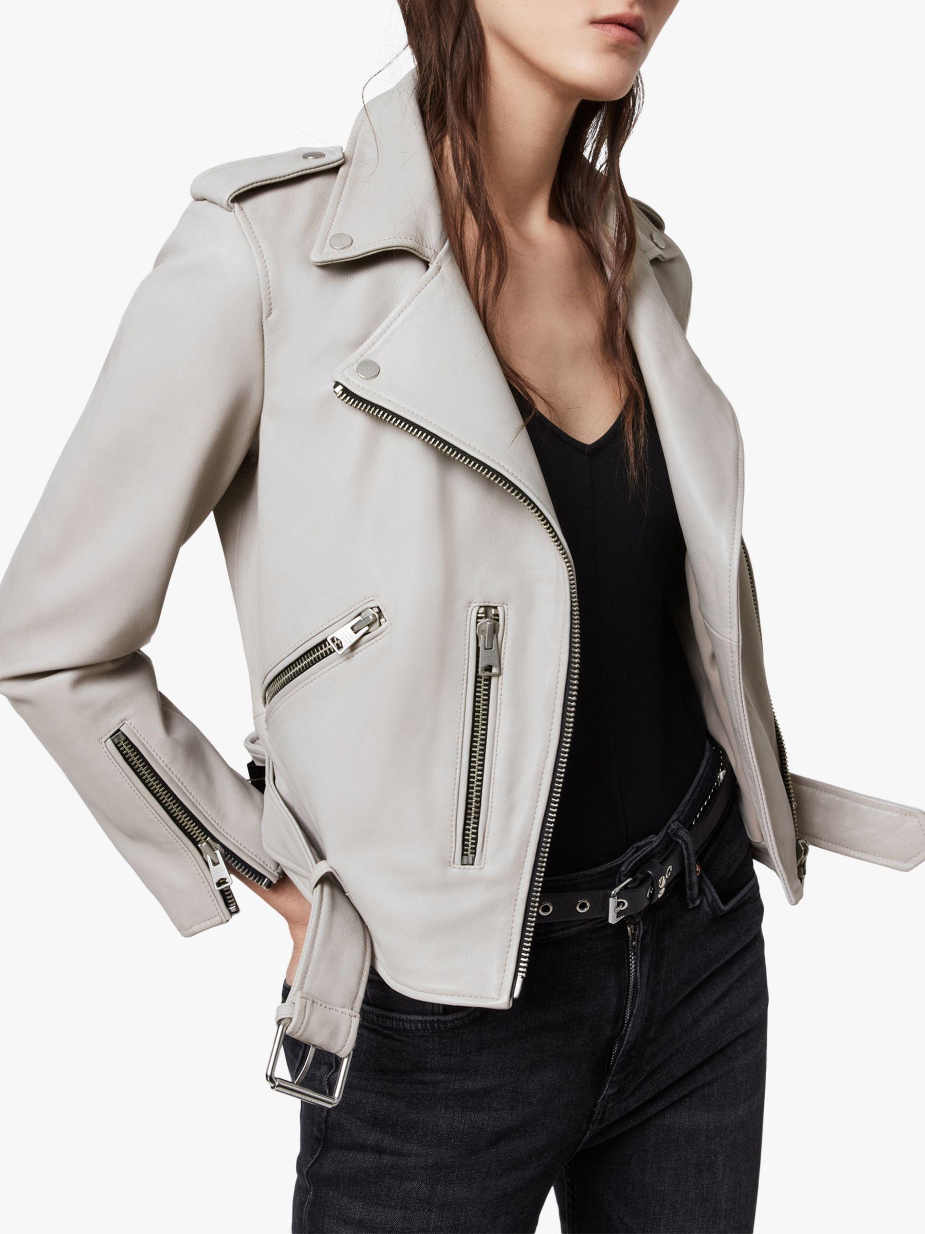 AllSaints Balfern Leather Biker Jacket, Cement Grey at John