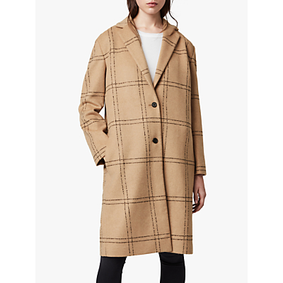 AllSaints Anya Check Coat, Camel/Black