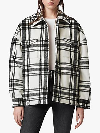 AllSaints Luella Check Jacket, Off White/Black