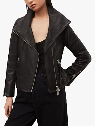 AllSaints Ellis Leather Biker Jacket, Black