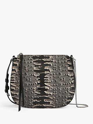AllSaints Elsworth Leather Round Cross Body Bag, Grey/Multi