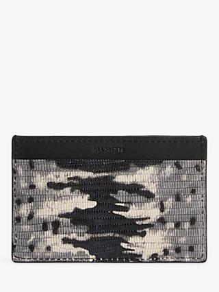 AllSaints Annabel Leather Card Holder, Grey/Multi