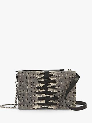 AllSaints Claremount Leather Chain Cross Body Bag, Grey/Multi