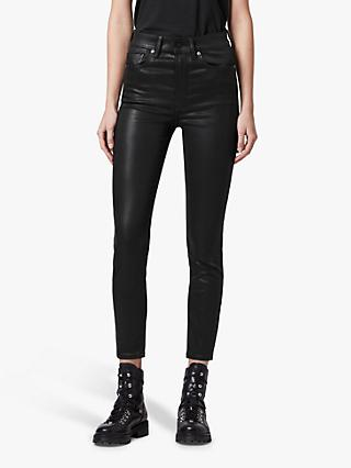 AllSaints Dax Coated High Rise Skinny Jeans, Black