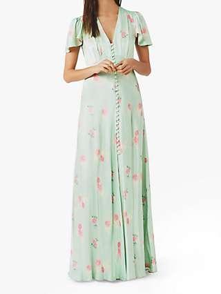 Ghost Delphine Floral Print Satin Maxi Dress, Green