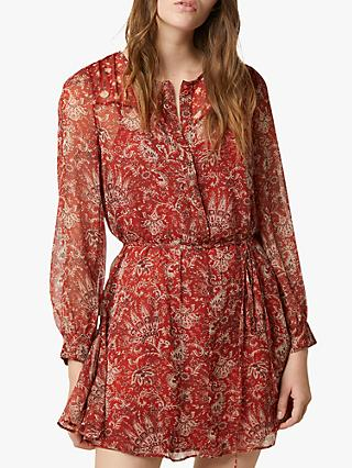 French Connection Esi Paisley Print Mini Dress, Red