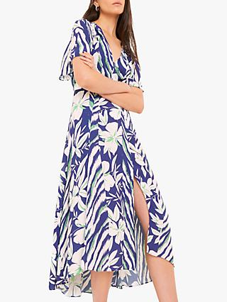 French Connection Diah Crepe Faux Wrap Belted Dress, Clement Blue/Multi