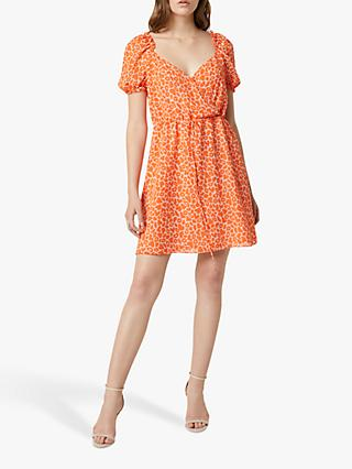 French Connection Etta Kiss Print Mini Dress, Neon Orange