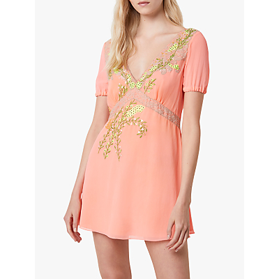 French Connection Abiba Floral Embroidered Mini Dress, Fiery Coral