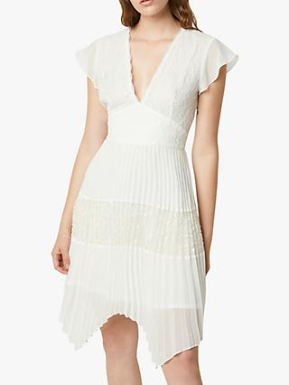 French Connection Bikita Lace Pleated Hanky Hem Dress, Summer White