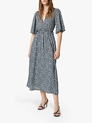 French Connection Akira Drape Abstract Midi Dress, Ebano/Silver