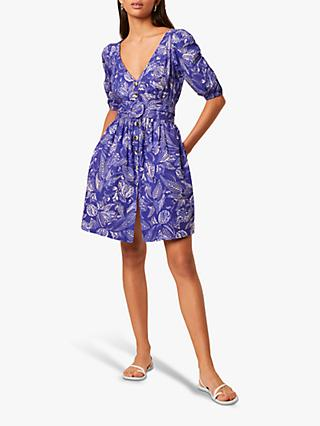 French Connection Besima Poplin Leaf Print Belted Dress, Clement Blue/Multi