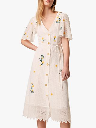 French Connection Eka Floral Embroidery Button Midi Dress, Summer White