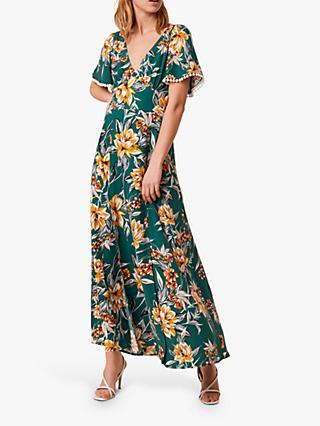 French Connection Claribel Floral Print Maxi Dress, Evergreen Multi